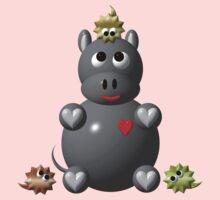 Cute hippo with hamsters Kids Tee