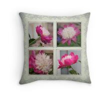 A Peony Flower Collage Throw Pillow