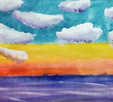 Fantasy Sunset, watercolor by Anna  Lewis, blind artist