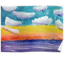 Fantasy Sunset, watercolor Poster