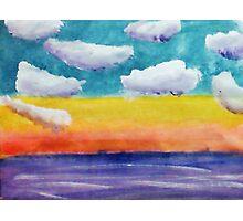 Fantasy Sunset, watercolor Photographic Print