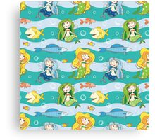 Pattern with mermaids. Canvas Print