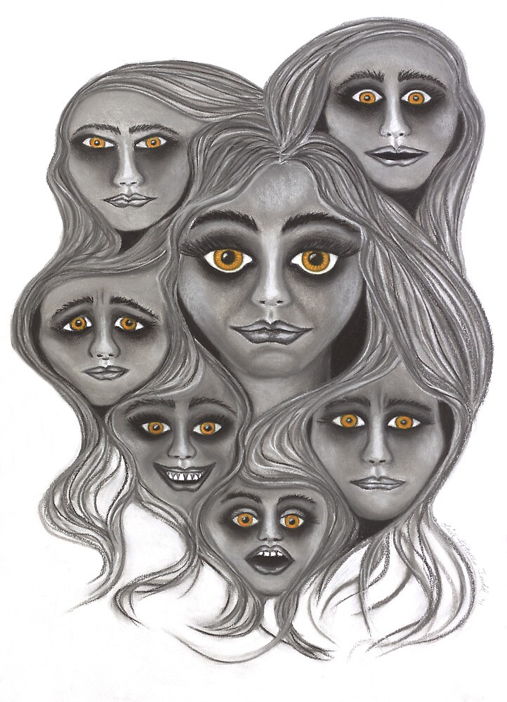 'Crowded Head' - moods & madness. by Lisa Frances Judd~QuirkyHappyArt