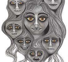 'Crowded Head' - moods & madness. by Lisa Frances Judd ~ QuirkyHappyArt