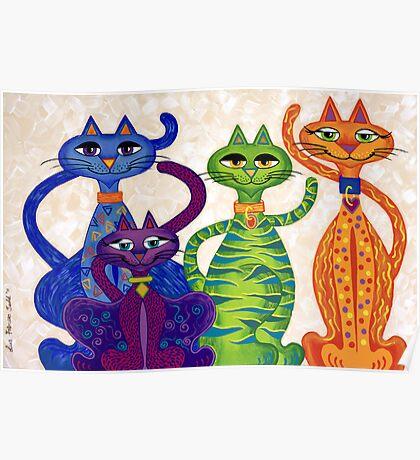 'High Street Cats' - a little bit Posh! (larger version) Poster