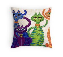 'High Street Cats' - a little bit Posh! (larger version) Throw Pillow