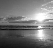 B&W ~ sunset beach by chrissy mitchell