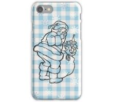 Vintage santa snow flakes checkered pattern  iPhone Case/Skin