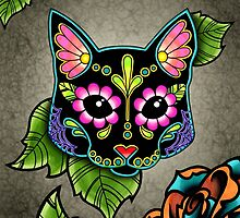 Day of the Dead Cat in Black Sugar Skull Kitty by prettyinink