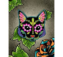 Day of the Dead Cat in Black Sugar Skull Kitty Photographic Print