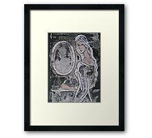 Mirror, secret, writing, young girl Framed Print