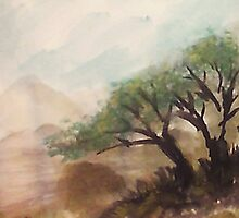 Resting under trees on slope in desert mountains, watercolor by Anna  Lewis