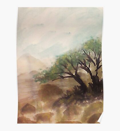 Resting under trees on slope in desert mountains, watercolor Poster