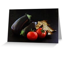 Eggplant and Tomato still life Greeting Card