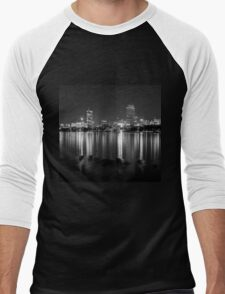 Boston viewed from Cambridge Men's Baseball ¾ T-Shirt