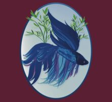 Big Blue Siamese Fighting Fish Oval by Lotacats