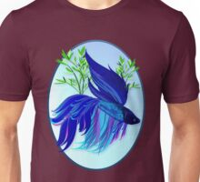 Big Blue Siamese Fighting Fish Oval Unisex T-Shirt