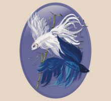 Blue 'n' White Siamese Fighting Fish Oval by Lotacats