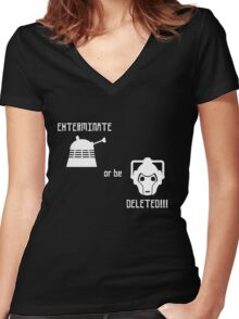 Daleks vs Cybermen - Exterminate or be Deleted Women's Fitted V-Neck T-Shirt