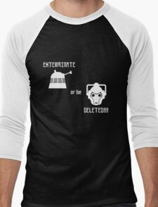 Daleks vs Cybermen - Exterminate or be Deleted Men's Baseball ¾ T-Shirt
