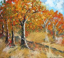 Mopaneveld in autumn by Elizabeth Kendall