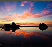 Forresters Beach , Sunrise . Reflection  by liippy