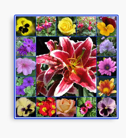 Selection of Summer Flowers Collage Canvas Print