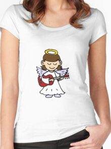 Funny Angel Girl Playing Red Guitar Women's Fitted Scoop T-Shirt