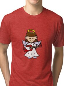 Funny Angel Girl Playing Red Guitar Tri-blend T-Shirt