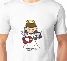 Funny Angel Girl Playing Red Guitar Unisex T-Shirt