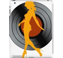 Dancing girl silhouette against vinyl  iPad Case/Skin