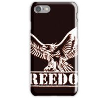 Eagle over lettering freedom drawn in engraving style iPhone Case/Skin