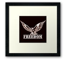 Eagle over lettering freedom drawn in engraving style Framed Print