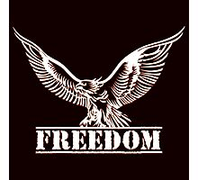 Eagle over lettering freedom drawn in engraving style Photographic Print