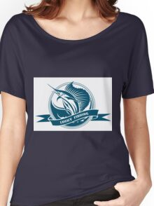 Nautical retro label with jumping sail fish Women's Relaxed Fit T-Shirt