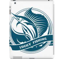 Nautical retro label with jumping sail fish iPad Case/Skin