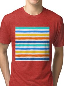 Brush Strokes Colorful Seamless Pattern Tri-blend T-Shirt