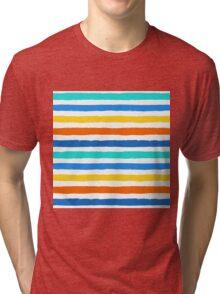 Brush Strokes Colorful Seamless Pattern Tri-blend T-Shirt