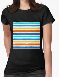 Brush Strokes Colorful Seamless Pattern Womens Fitted T-Shirt