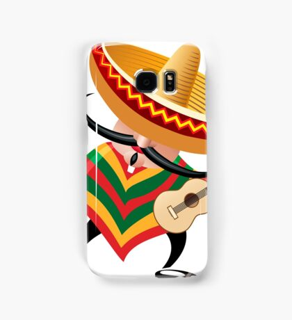 mexican musician in sombrero with guitar drawn in cartoon style Samsung Galaxy Case/Skin