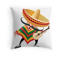 mexican musician in sombrero with guitar drawn in cartoon style Throw Pillow