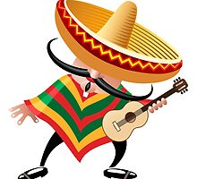mexican musician in sombrero with guitar drawn in cartoon style by devaleta