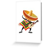 mexican musician in sombrero with guitar drawn in cartoon style Greeting Card