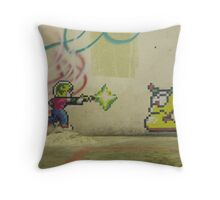 Little PIxel Guy and Worm Throw Pillow