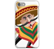mexican musician in sombrero with trumpet drawn in cartoon style iPhone Case/Skin
