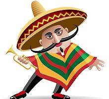 mexican musician in sombrero with trumpet drawn in cartoon style by devaleta