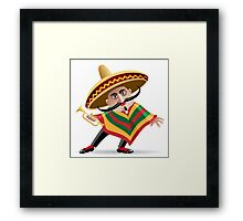 mexican musician in sombrero with trumpet drawn in cartoon style Framed Print