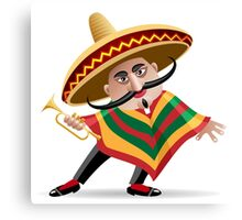 mexican musician in sombrero with trumpet drawn in cartoon style Canvas Print