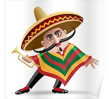 mexican musician in sombrero with trumpet drawn in cartoon style Poster