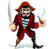 smilling pirat with smoking tube and saber by devaleta